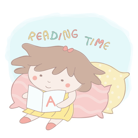 Sweet little girl reading a book leaned on big pillows, colorful vector cartoon illustration