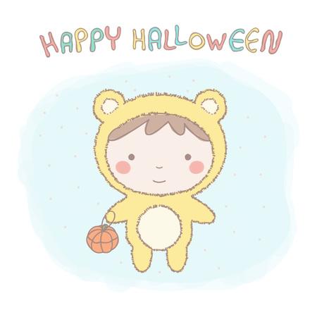 Colorful vector illustration of adorable little girl in teddy bear costume for Halloween Illustration