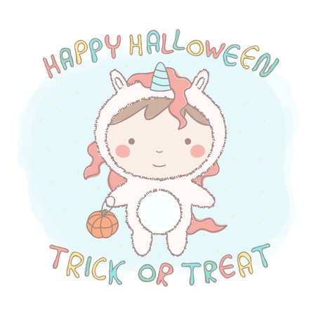 Colorful vector illustration of cute little girl in unicorn costume for Halloween