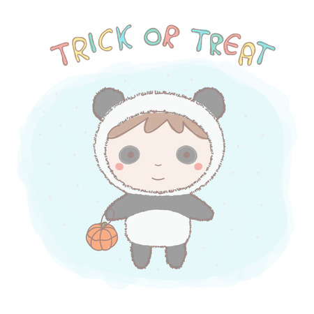 Colorful illustration of cute little girl in a panda costume.