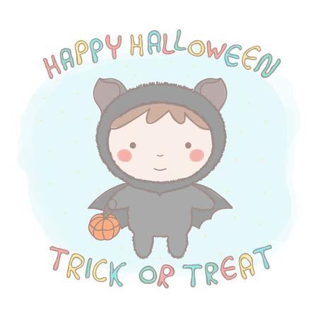 Colorful illustration of adorable little girl in bat costume Illustration