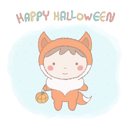 Cute little girl wearing fox costume for Halloween