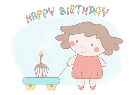 Sweet little girl with birthday cake on cart Illustration