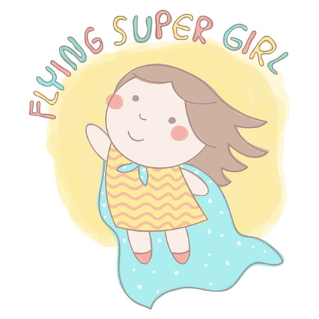 Cute illustration of a sweet little girl wearing cloak and flying