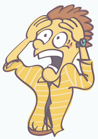 Funny man astonished and terrified, vector cartoon isolated on white background