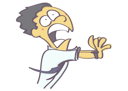 Funny vector cartoon of man running away in fear and panic, isolated on white background
