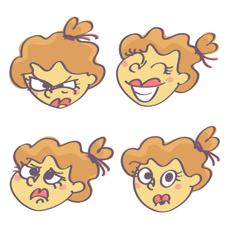 Cute vector cartoon set with four girl faces expressing different feelings, isolated on white background.