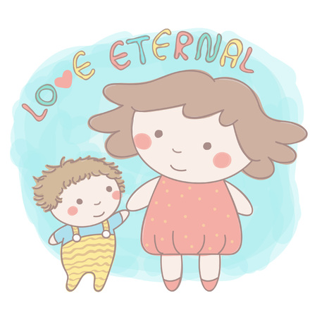 Cute vector illustration with little sister and baby brother or sister holding hands in colorful hand drawn style Illustration