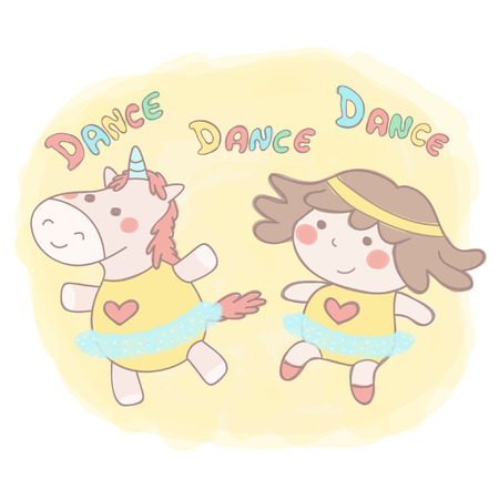 Cute little girl and female unicorn dancing ballet in tutu skirts, colorful vector hand drawn style illustration