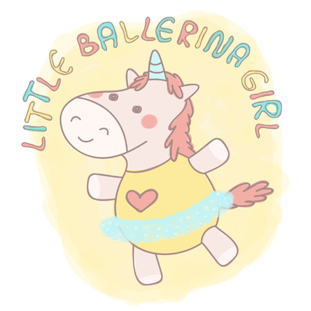 Adorable little unicorn girl dancing ballet, colorful vector illustration Illustration