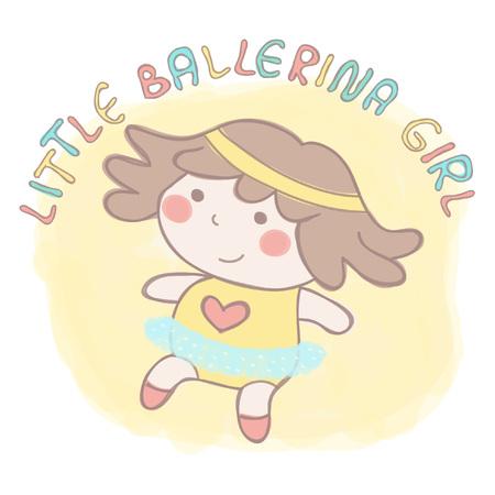 Sweet little baby ballerina girl in tutu skirt dancing, colorful vector hand drawn style illustration