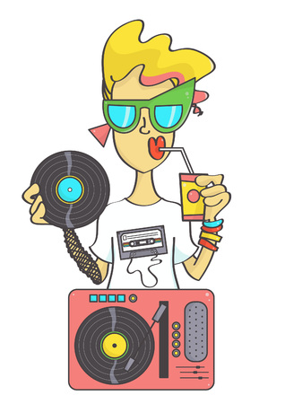 Cool retro girl with gramophone record player wearing oversized sunglasses all in eighties style, isolated on white background