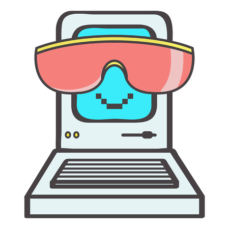 Cute little eighties computer emoticon with big pink sunglasses smiling, vector cartoon isolated on white background Illustration