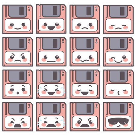 Cute set of diskette emoticons expressing different good and bad emotions, vector cartoon isolated on white background
