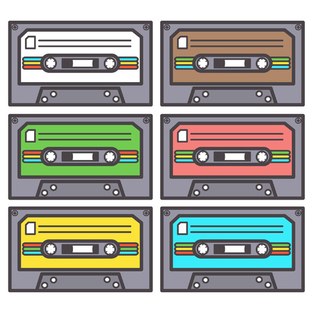 Colorful vector set of six eighties cassettes for tape recorder, isolated on white background Illustration