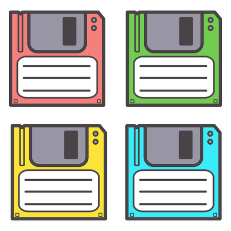Set of four diskettes in different vivid colors, vector isolated on white background