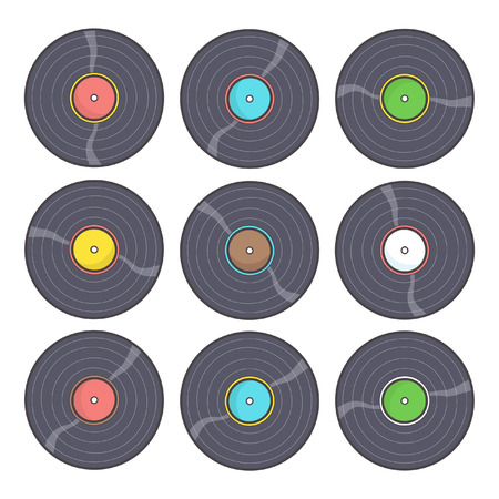 Collection of nine colorful gramophone records in different colors, vector drawing isolated on white background Illustration