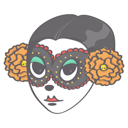 Colorful vector illustration of girl's head in Halloween style