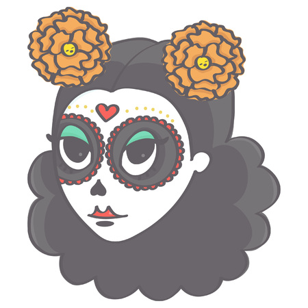 Cute girl's head in Day of the Dead style Illustration