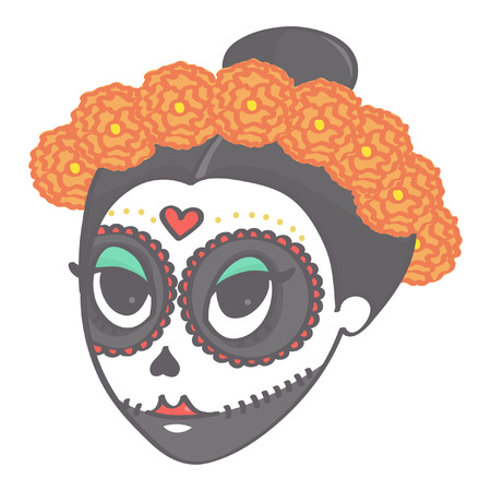 Cute girl's head with flower corolla for Day of the Dead or Halloween Illustration