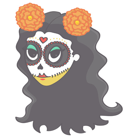 Female head with long hair and flowers in Day of the Dead style