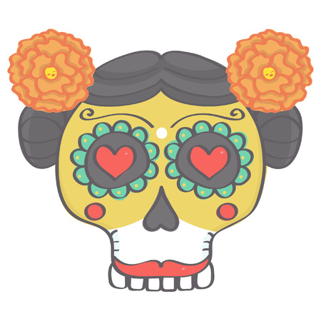 Colorful female sugar skull head in Mexican Day of the Dead style