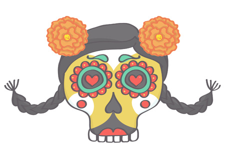Colorful female sugar skull head in Halloween style with braids and flowers Illustration