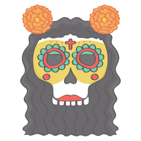 Colorful female sugar skull head in Mexican Day of the Dead style with long hair and flowers