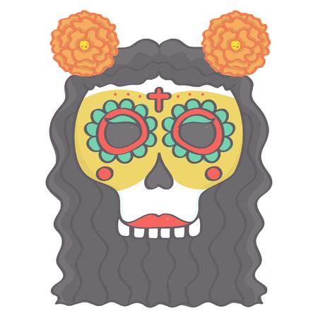 Colorida Cabeza De Calavera De Azúcar Femenina En El Estilo Mexicano