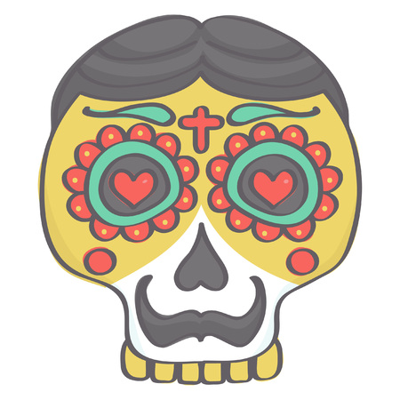 Colorful male sugar skull head with mustache in Mexican Halloween style