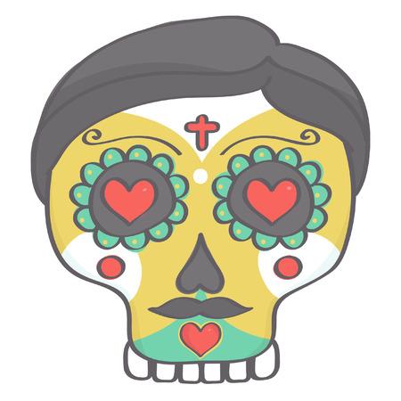 Sugar skull male head in Halloween style Illustration