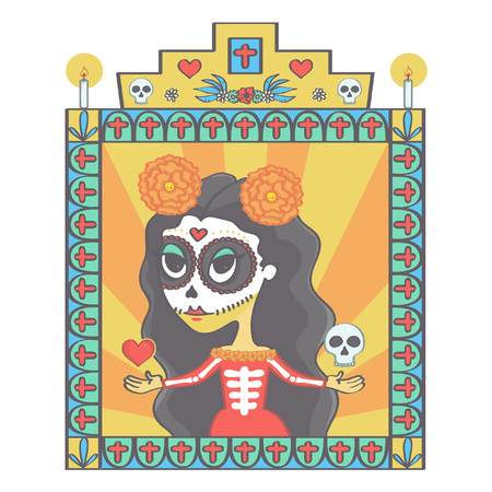 Beautiful sugar skull woman in Mexican Halloween style ornaments frame with religious signs, colorful vector drawing Illustration