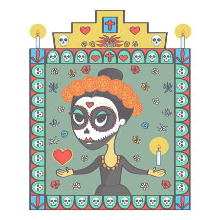 Colorful vector illustration in Mexican Day of the Dead style with beautiful sugar skull woman and religious ornaments frame Illustration