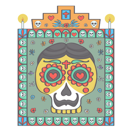 Male sugar skull head and frame with religious ornaments in Mexican Halloween style, colorful vector drawing