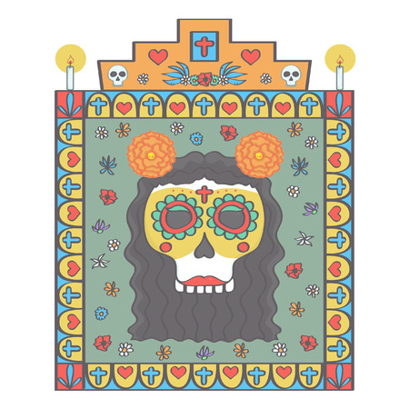 Female sugar skull head framed with colorful religious ornaments and flowers in Mexican Day of the Dead style, vector illustration