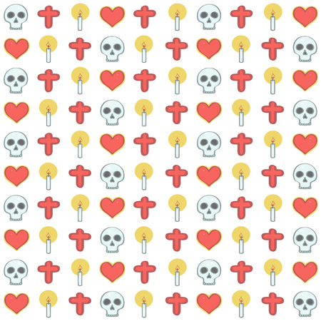 Colorful vector background pattern in Mexican Halloween style with skulls, candles and hearts on white background