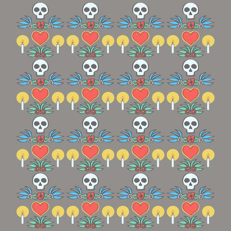 Colorful pattern in Mexican Halloween style with ornaments and flowers, vector illustration on dark background Illustration
