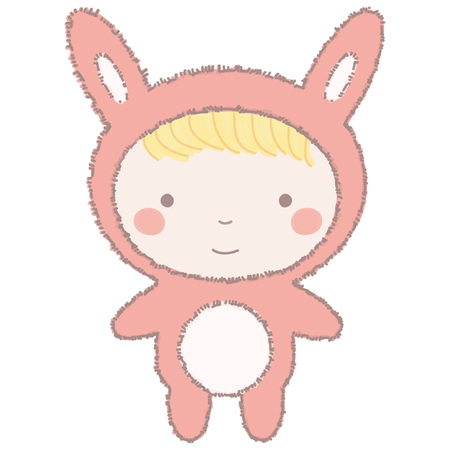 Cute little girl or boy in pink bunny costume, colorful vector cartoon illustration isolated on white background