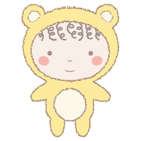Colorful vector illustration of adorable little girl or boy in yellow teddy bear costume, isolated on white background