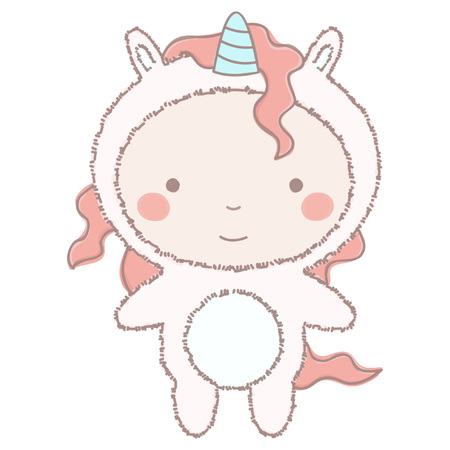 Colorful vector illustration of cute little girl or boy in adorable unicorn costume, isolated on white background