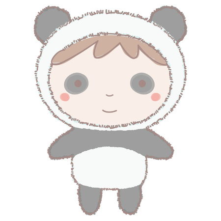 Colorful vector illustration of cute little girl or boy in panda costume, hand drawn style isolated on white background Vettoriali