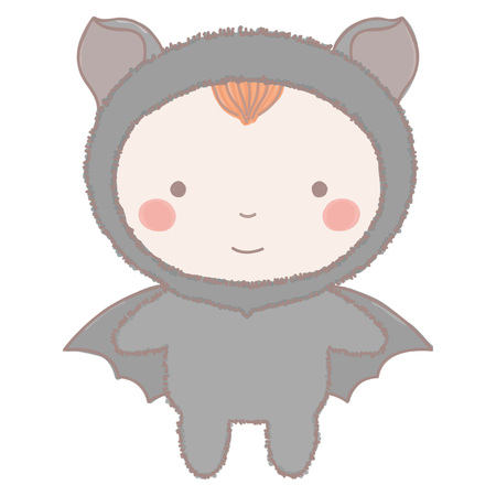 Colorful vector illustration of adorable little girl or boy in black bat costume, hand drawn style isolated on white background