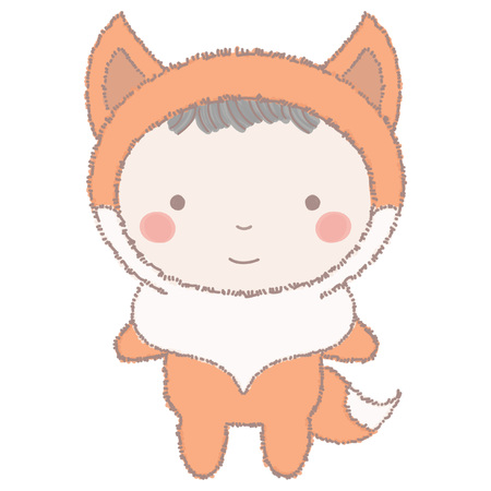 Cute little girl or boy wearing an orange fox costume, colorful vector illustration in hand drawn style isolated on white background Vettoriali