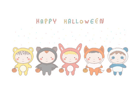 Colorful Halloween card with group of adorable little children in animal costumes, cute vector hand drawn style illustration