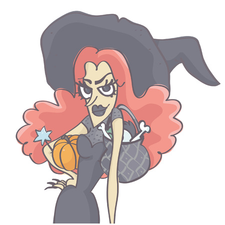 Funny vector cartoon of stylish witch woman with long pink hair holding pumpkin, hat and black pot