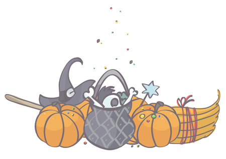 Colorful vector cartoon of witch pot with pumpkins, hat and broom for Halloween