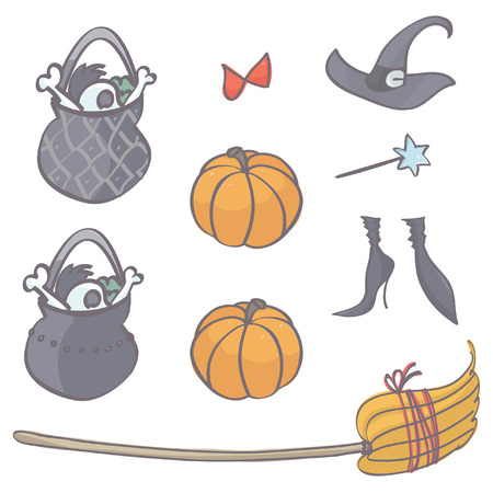 Collection of witch stuff for Halloween, isolated vector cartoon on white background Çizim