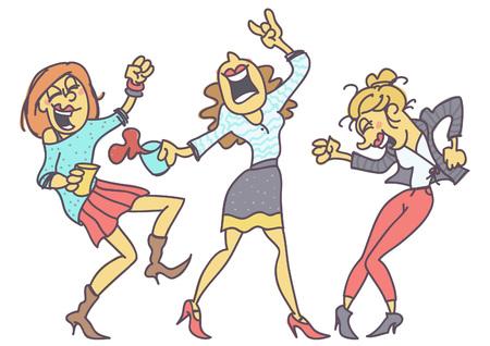 Groep vrouwen feesten, grappige vector cartoon geïsoleerd op een witte achtergrond Vector Illustratie