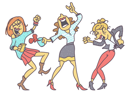 Group of women partying, funny vector cartoon isolated on white background