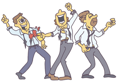 Group of man partying, funny vector cartoon isolated on white background
